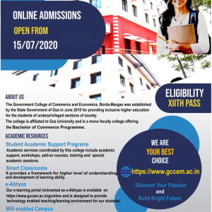 College Banner specifying admission details of FyBCOM 20-21 batch